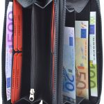 Damenbörse mit doppeltem Reißverschluss Leder schwarz
