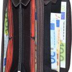 Damenbörse mit doppeltem Reißverschluss Leder dunkelbraun