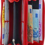Damenbörse mit doppeltem Reißverschluss Leder rot