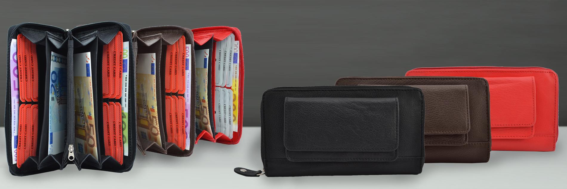 Damenbörse mit aufgesetzter Tasche für Smartphone oder Hartgeld