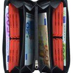 256-Damenbörse mit Smartphone Tasche - Innenansicht schwarz