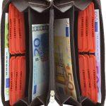 256-Damenbörse mit Smartphone Tasche - Innenansicht dunkelbraun