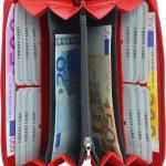 256-Damenbörse mit Smartphone Tasche - Innenansicht rot